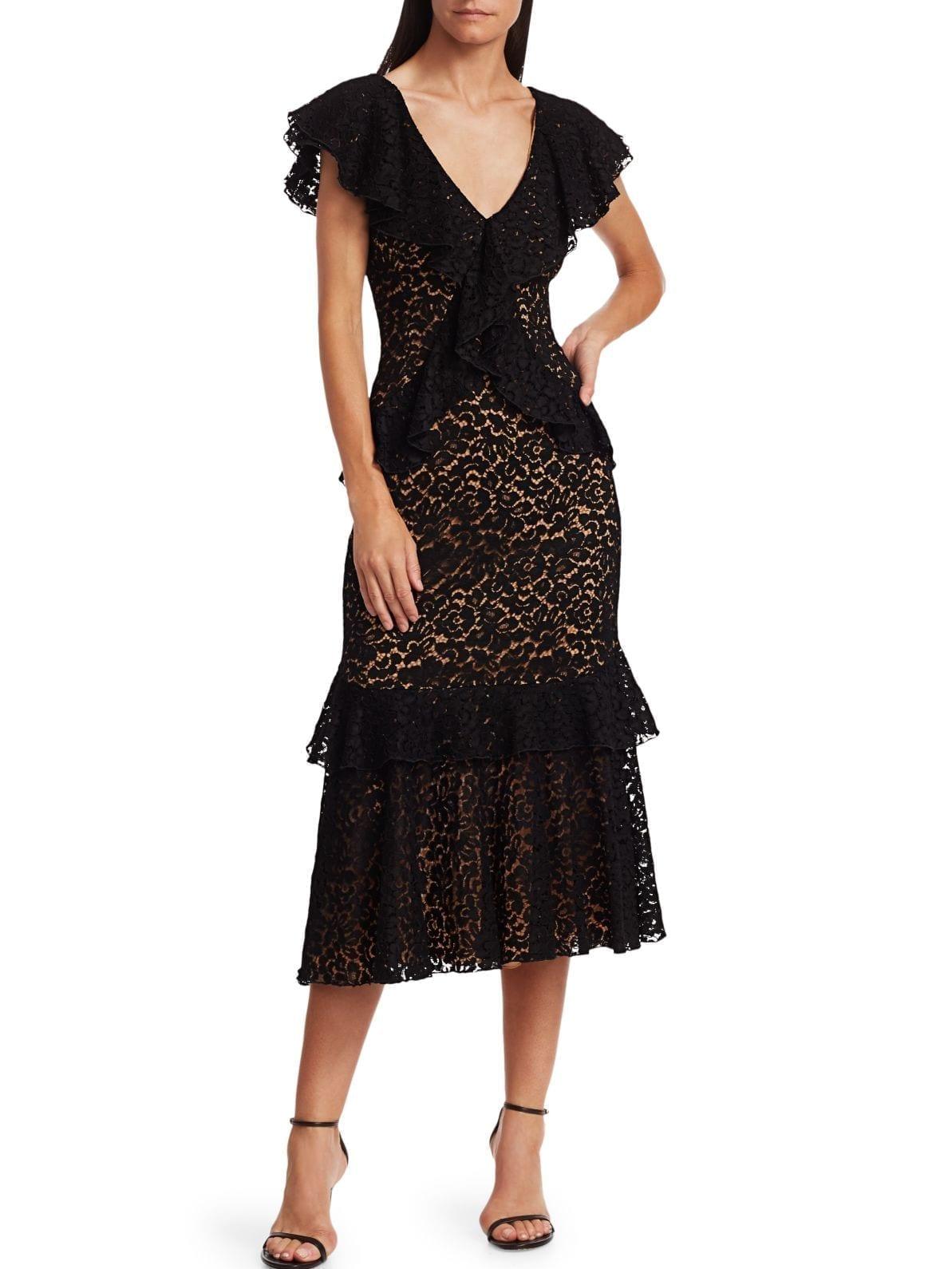 MICHAEL KORS COLLECTION Lace V-Neck Ruffle Midi Dress