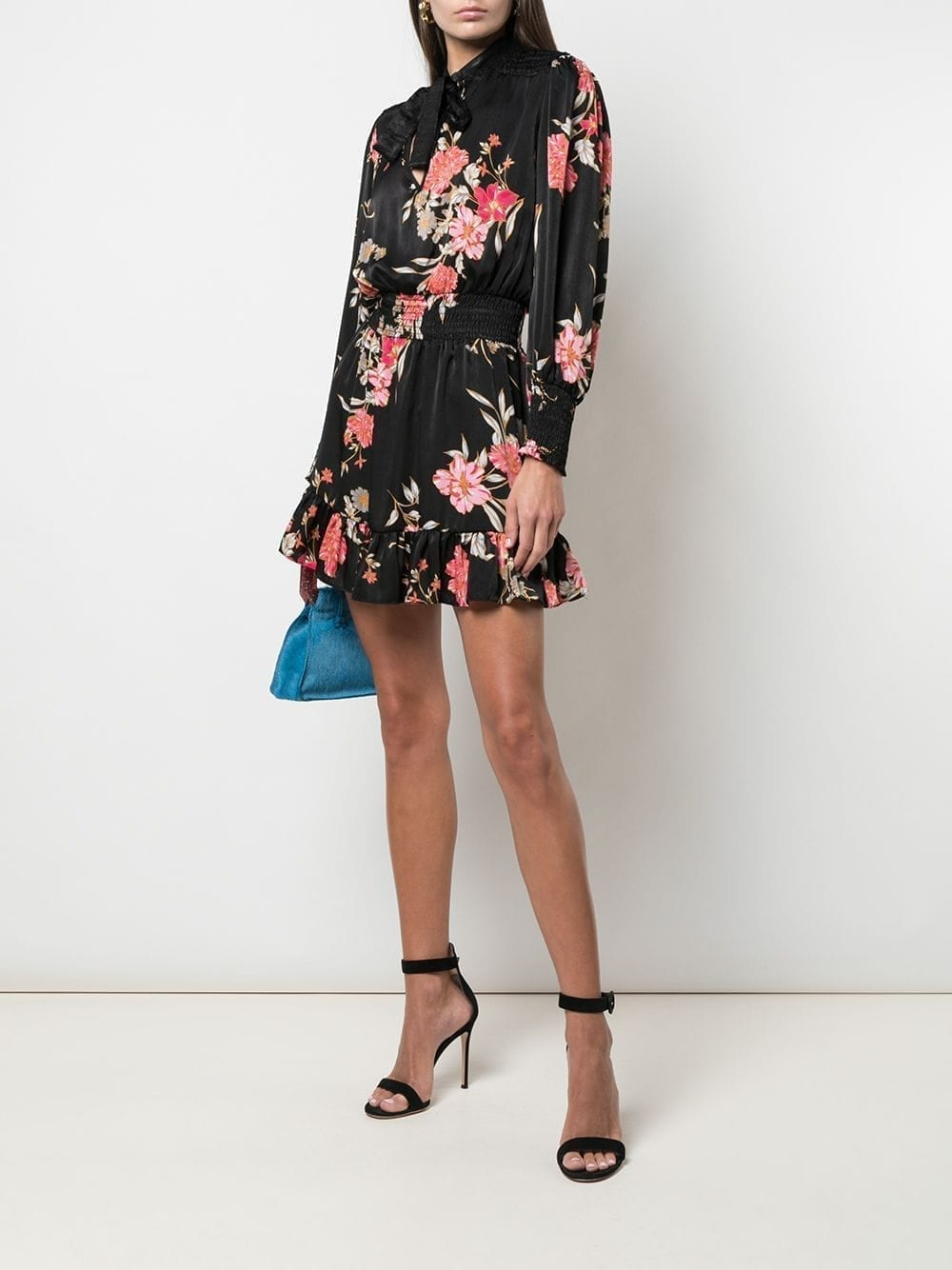 MISA LOS ANGELES Pussy Bow Floral Mini Dress