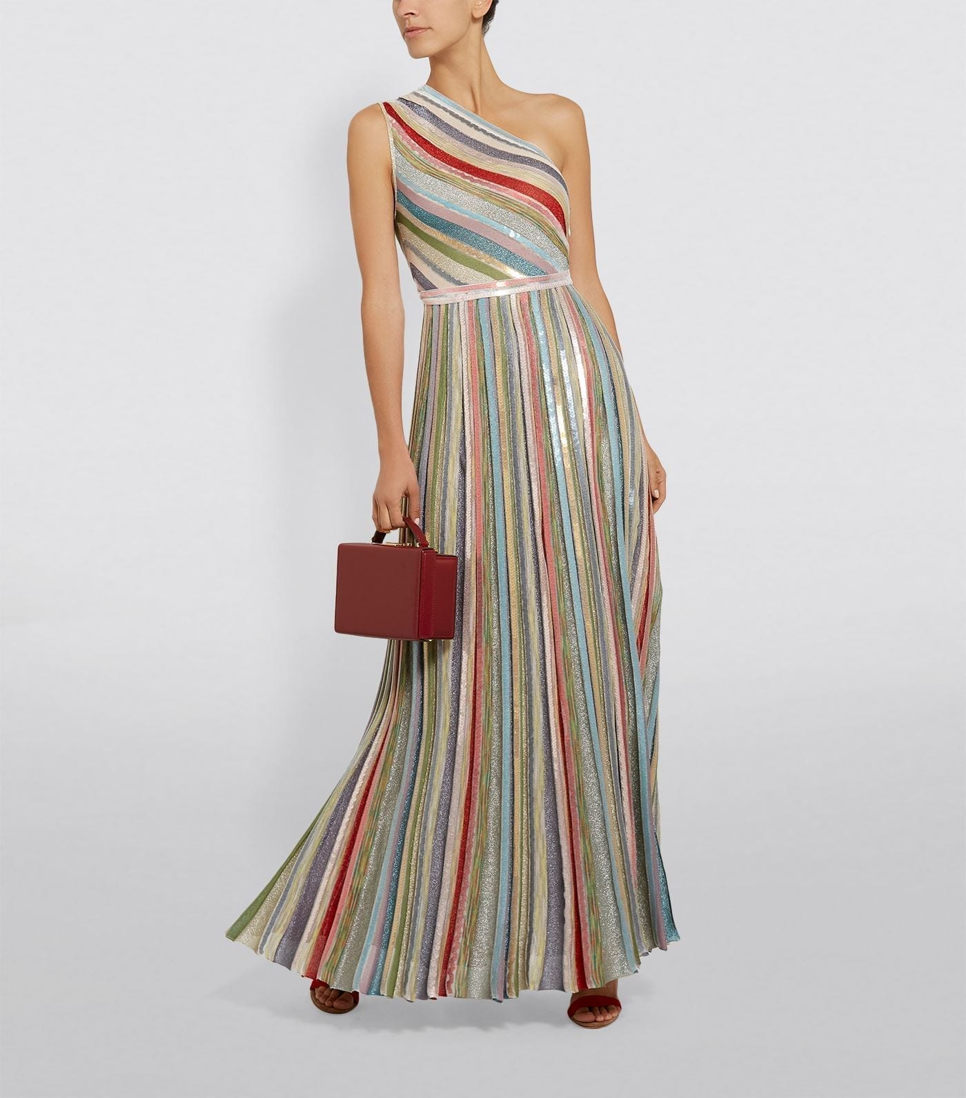 MISSONI One-Shoulder Stripe Maxi Dress