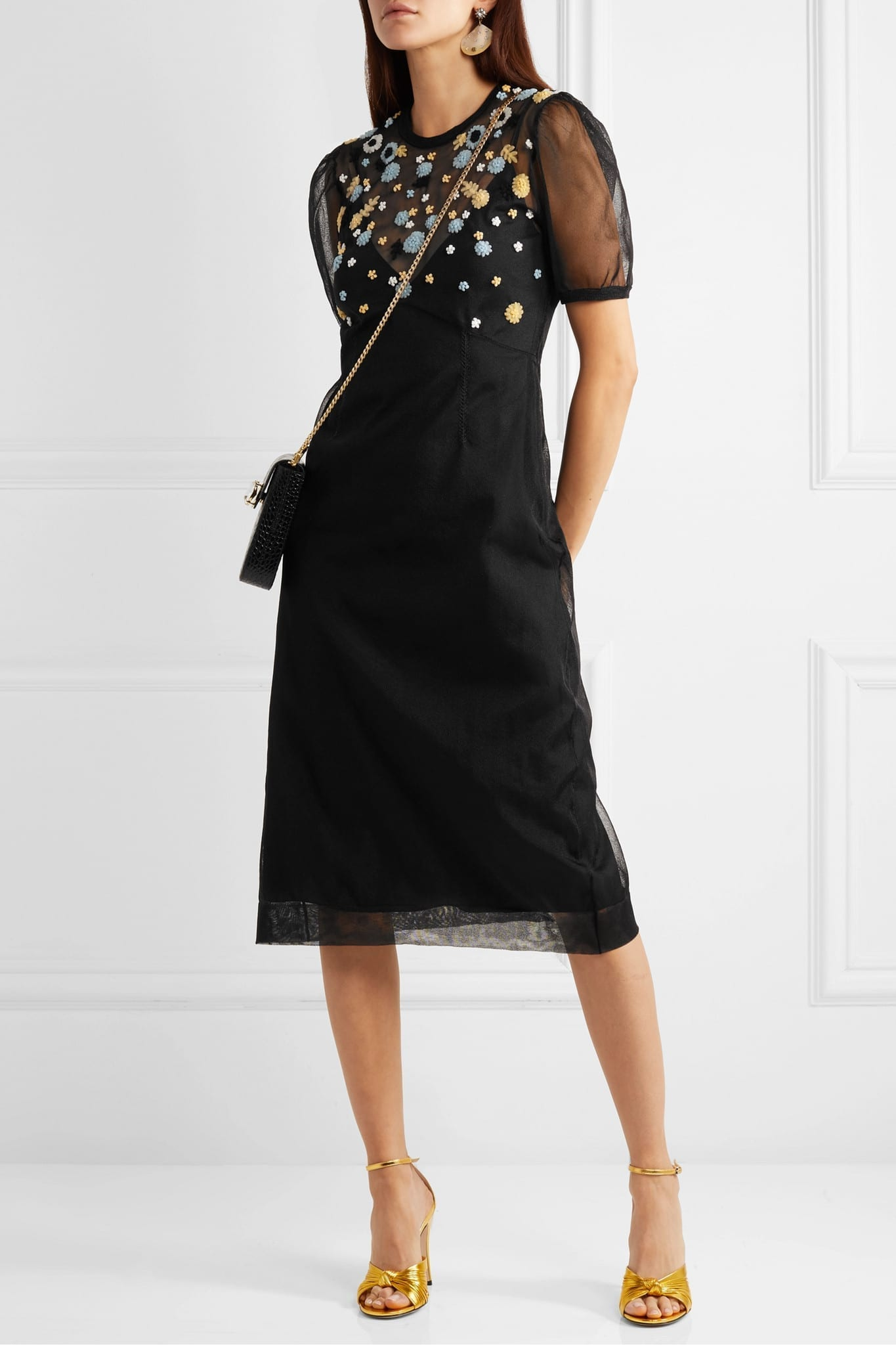 MIU MIU Embroidered Tulle Midi Dress