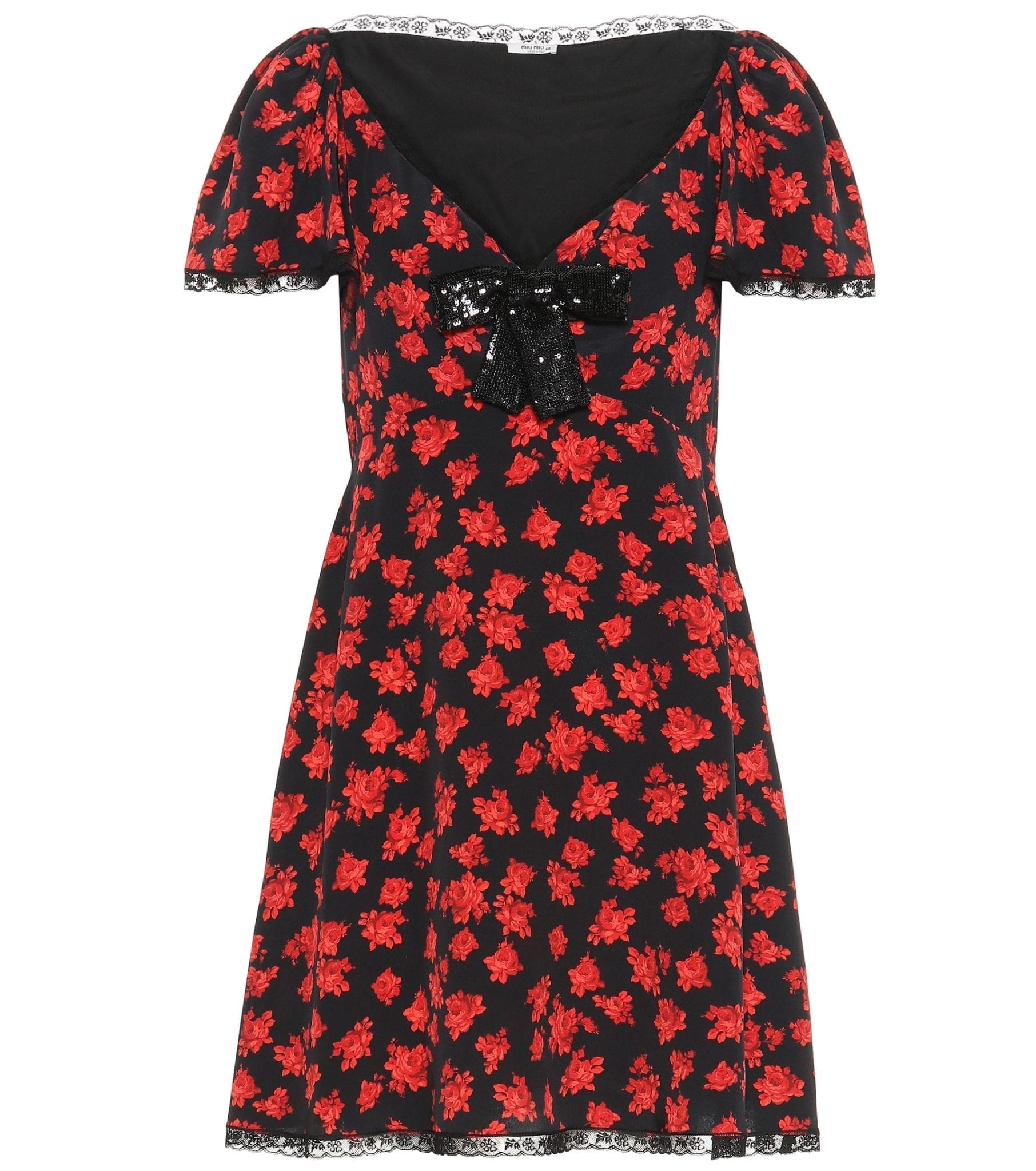 MIU MIU Floral Silk Mini Dress