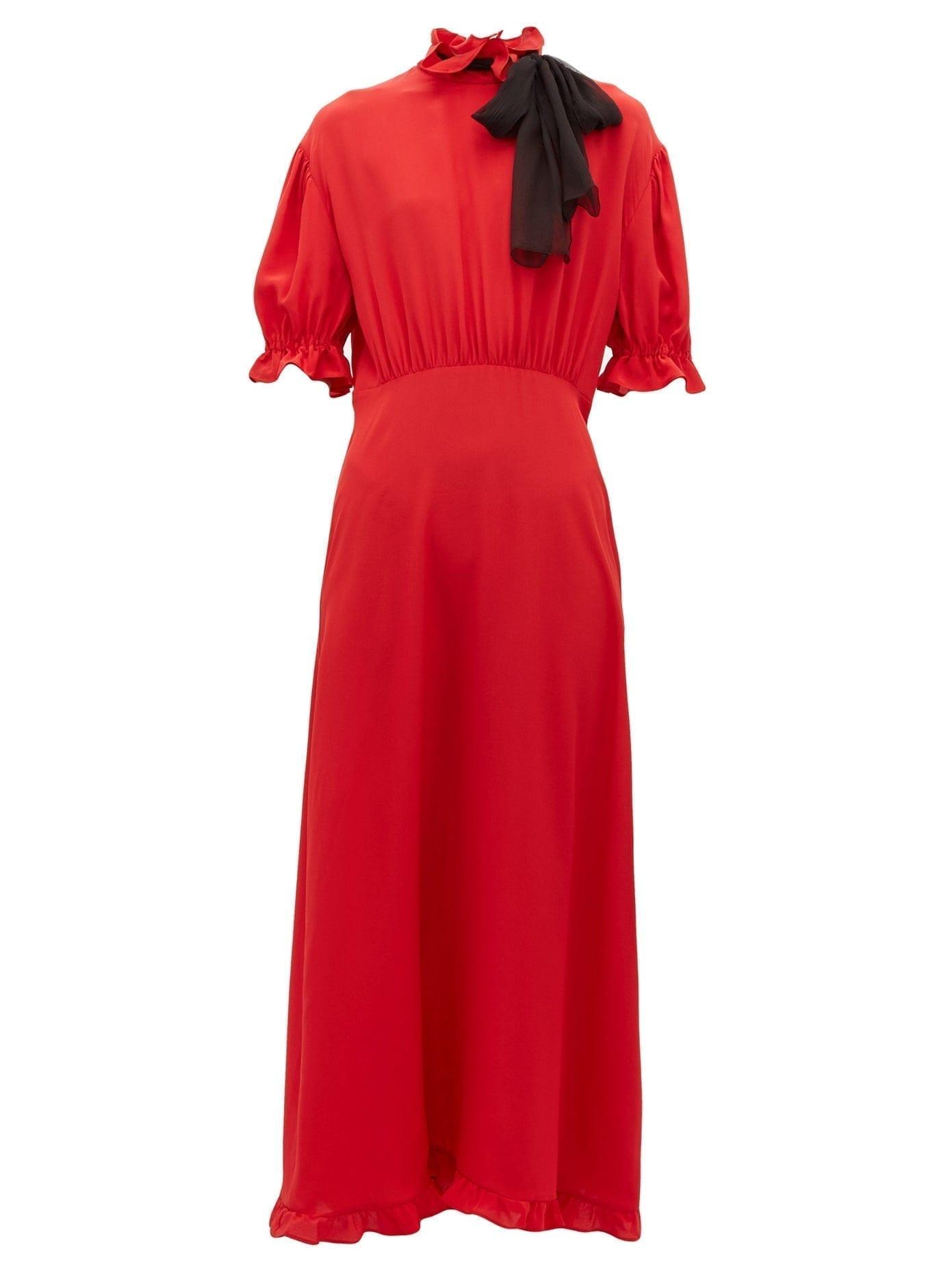 MIU MIU Pussy-Bow Silk-Crepe Dress