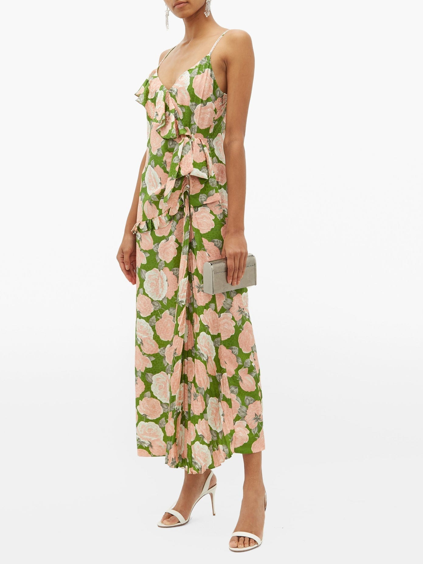 MIU MIU Ruffled Floral-print Silk-jacquard Dress