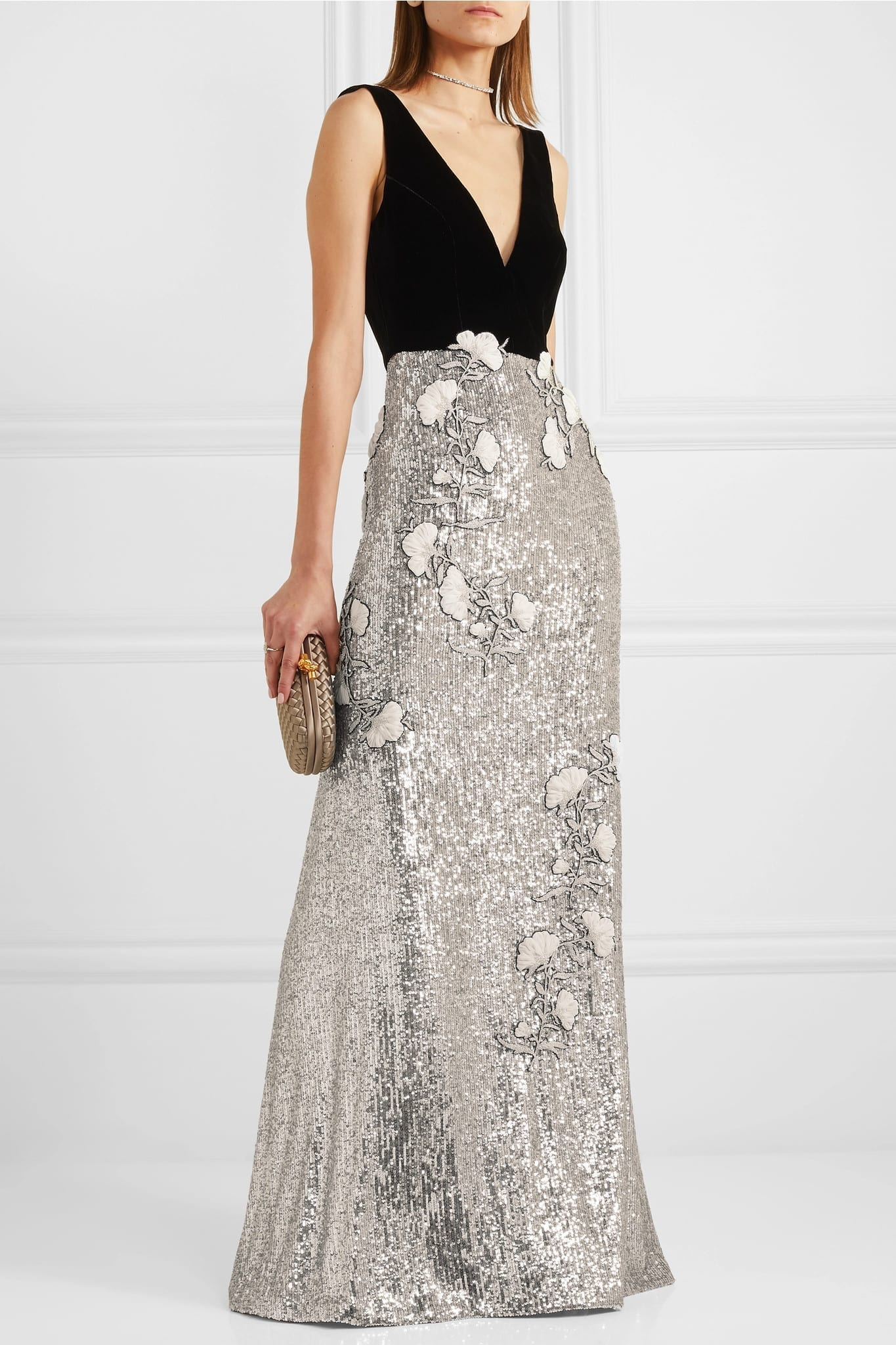 MONIQUE LHUILLIER Velvet And Embellished Tulle Gown