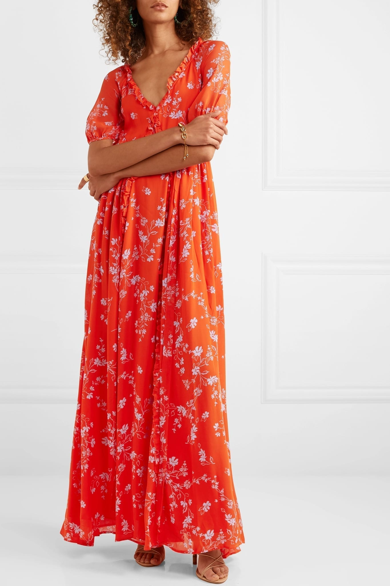 NICHOLAS Ruffled Floral-print Silk-chiffon Maxi Dress