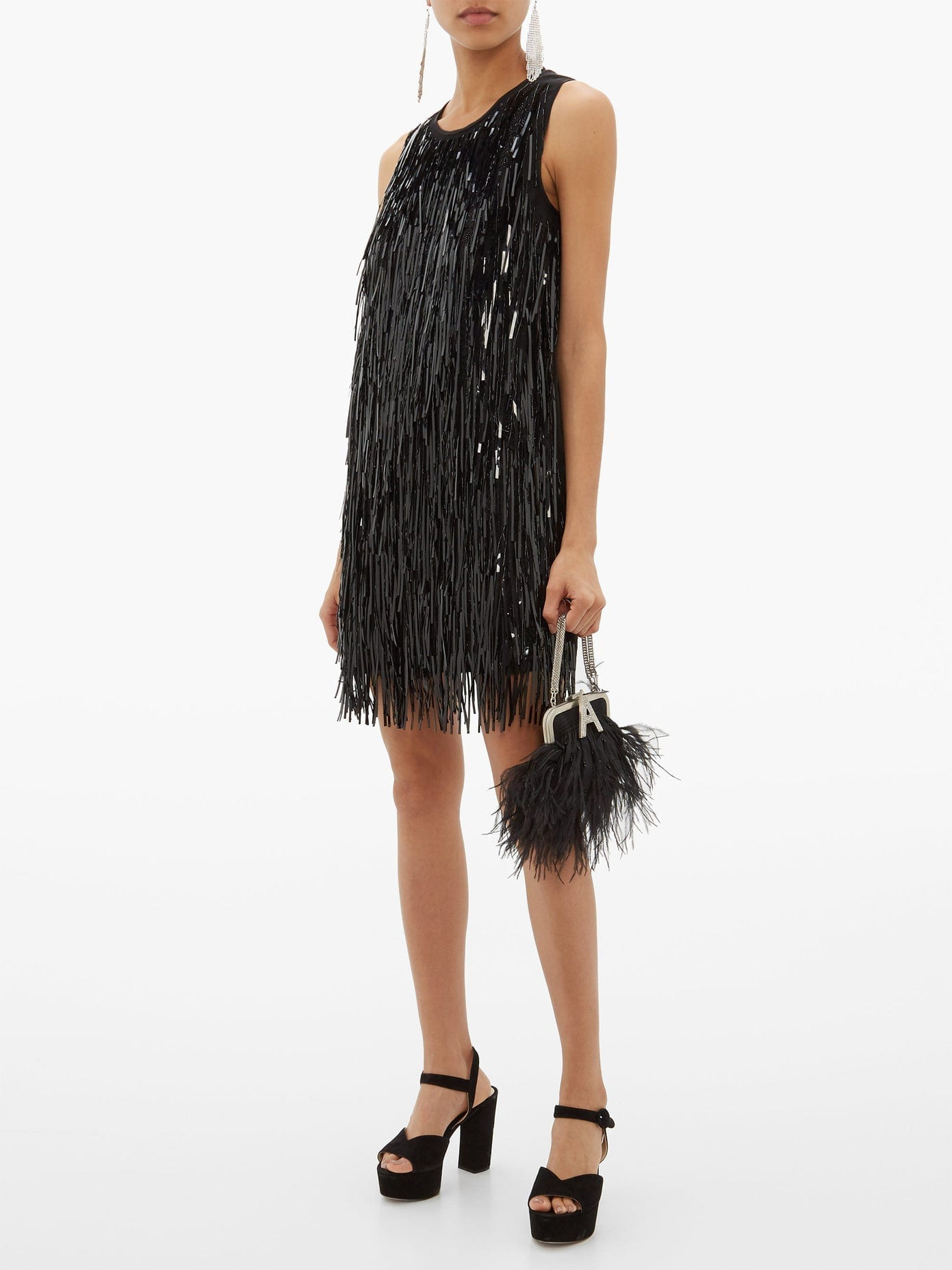 NO. 21 Sequin-tassel Satin Shift Dress