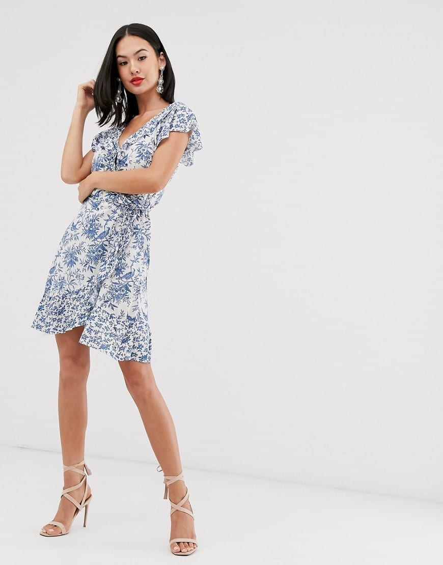 OASIS Poplin Patched Ruffle Wrap Dress