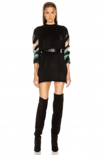 OFF-WHITE Intarsia Mohair Crewneck Sweater Dress