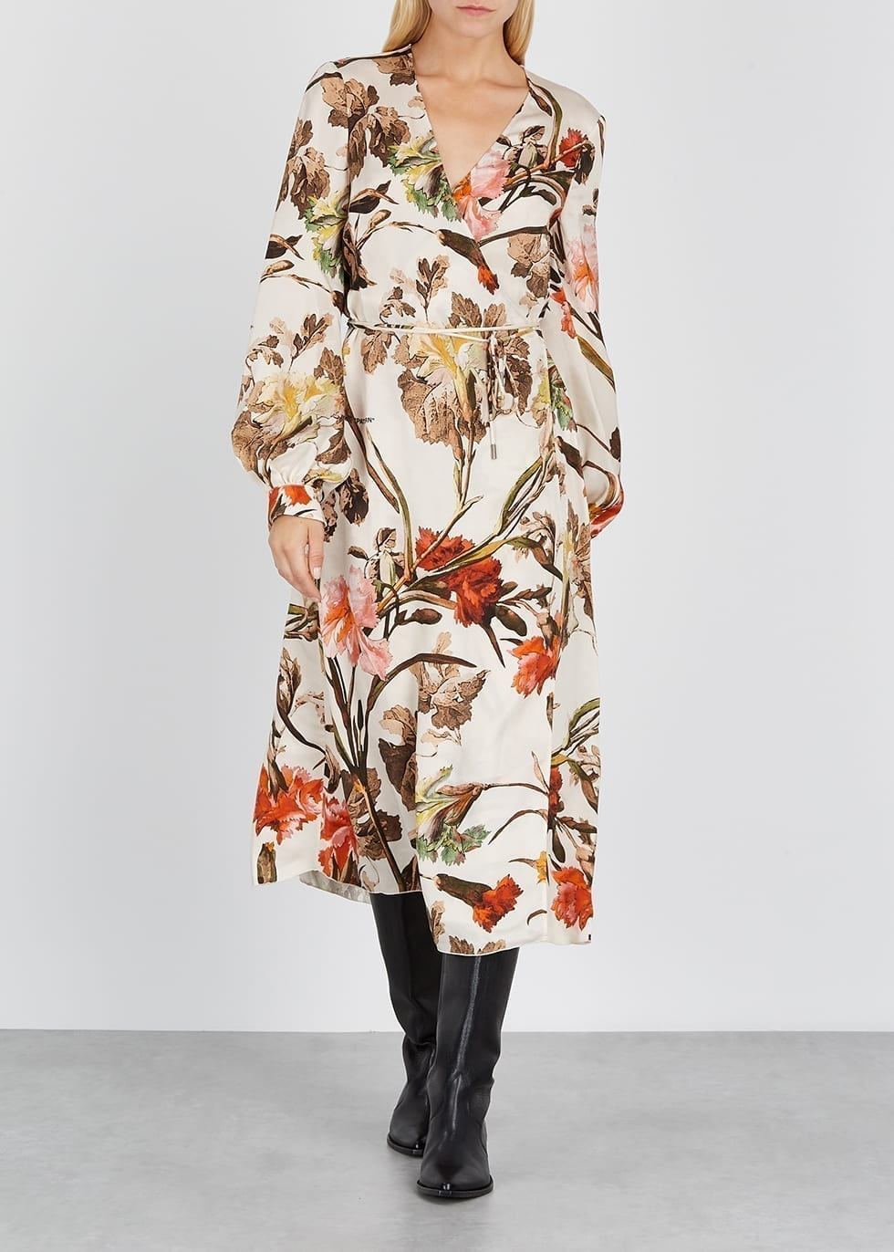 OFF-WHITE Ivory Floral-print Wrap Dress