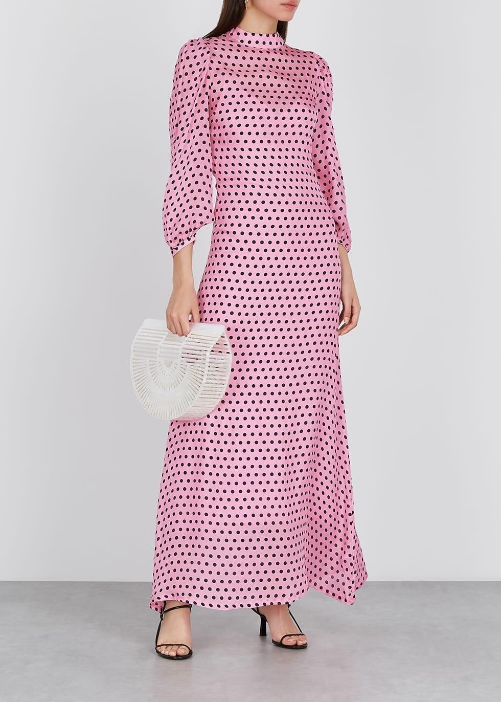 OLIVIA RUBIN Elizabeth Polka-dot Silk Maxi Dress