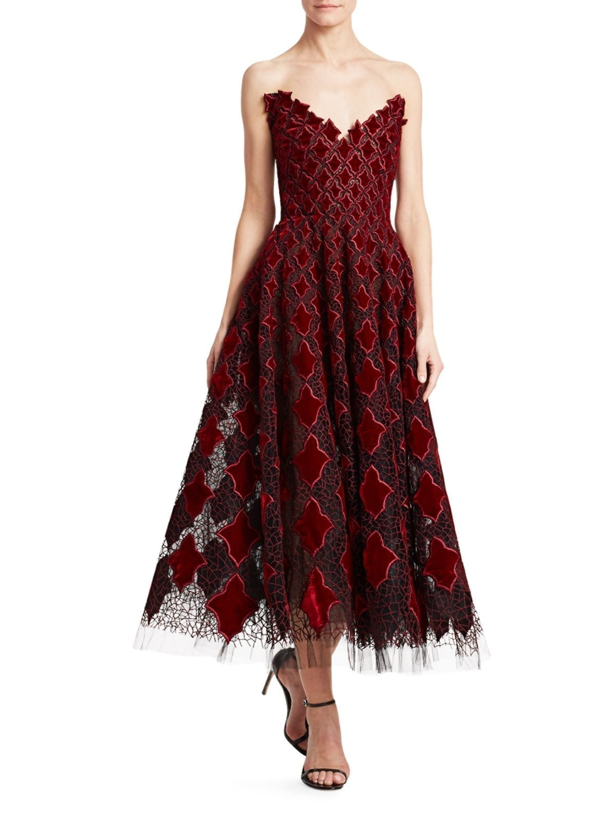 OSCAR DE LA RENTA Strapless Velvet & Tulle Tea-Length Dress