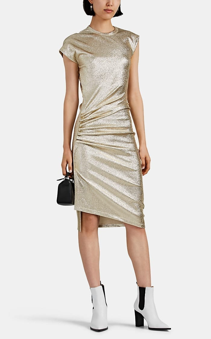 PACO RABANNE Lamé Asymmetric Fitted Dress