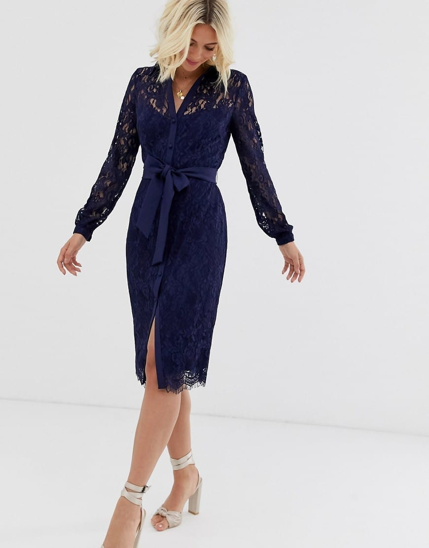 PAPER DOLLS Tie Waist Lace Shirt Dress