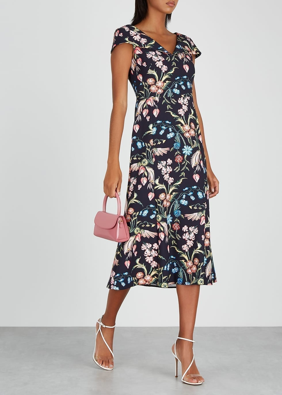 PETER PILOTTO Navy Floral-print Cady Dress