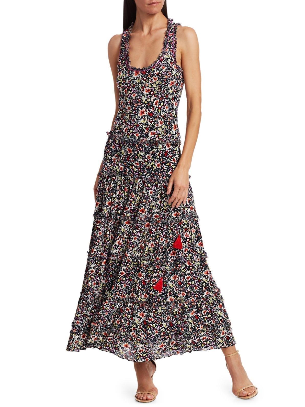 POUPETTE ST BARTH Bety Fringe Floral Long Flare Dress