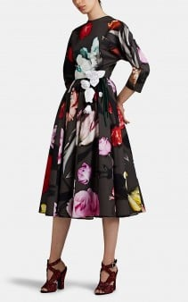 PRADA Rose-Print Cotton A-Line Dress