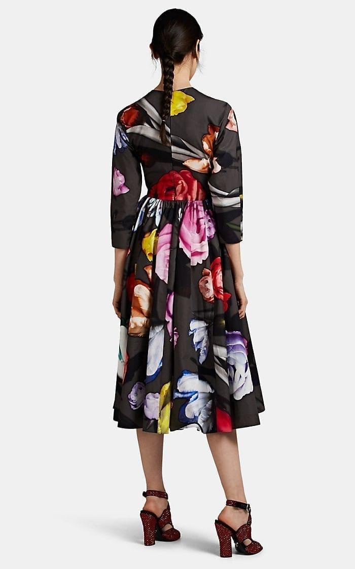 PRADA Rose-Print Cotton A-Line Dress