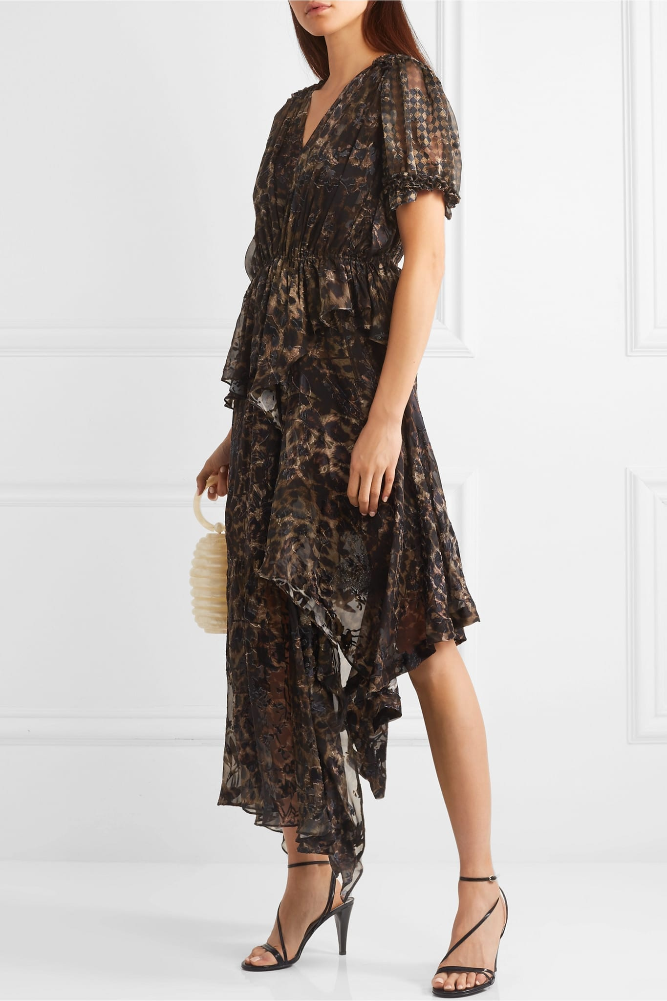PREEN BY THORNTON BREGAZZI Esther Asymmetric Ruffled Leopard-print Devoré-chiffon Dress