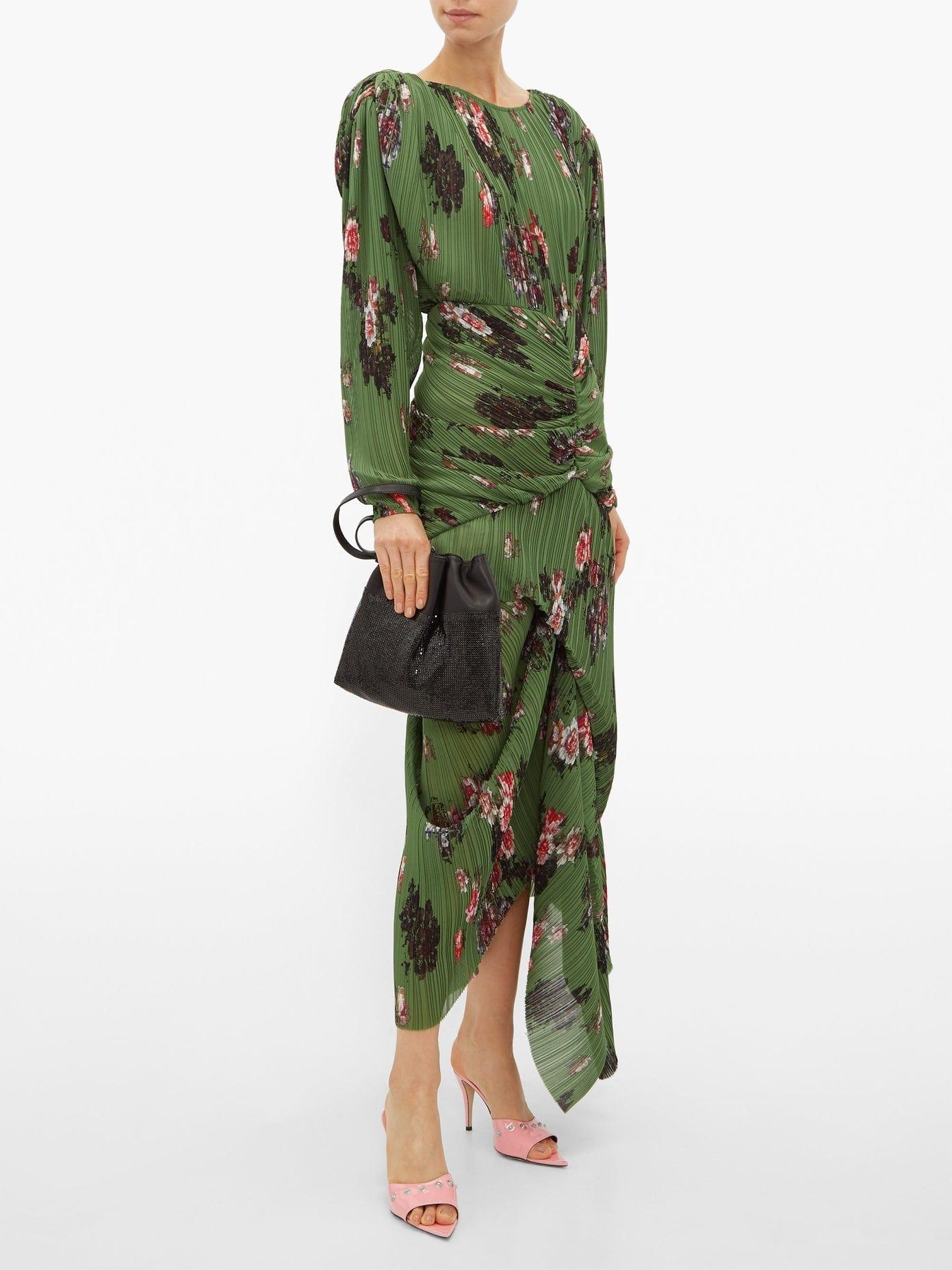 PREEN BY THORNTON BREGAZZI Ofira Plissé Floral-print Georgette Midi Dress