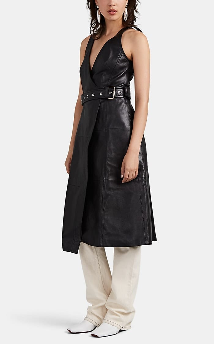 PROENZA SCHOULER Leather Belted Midi-Dress