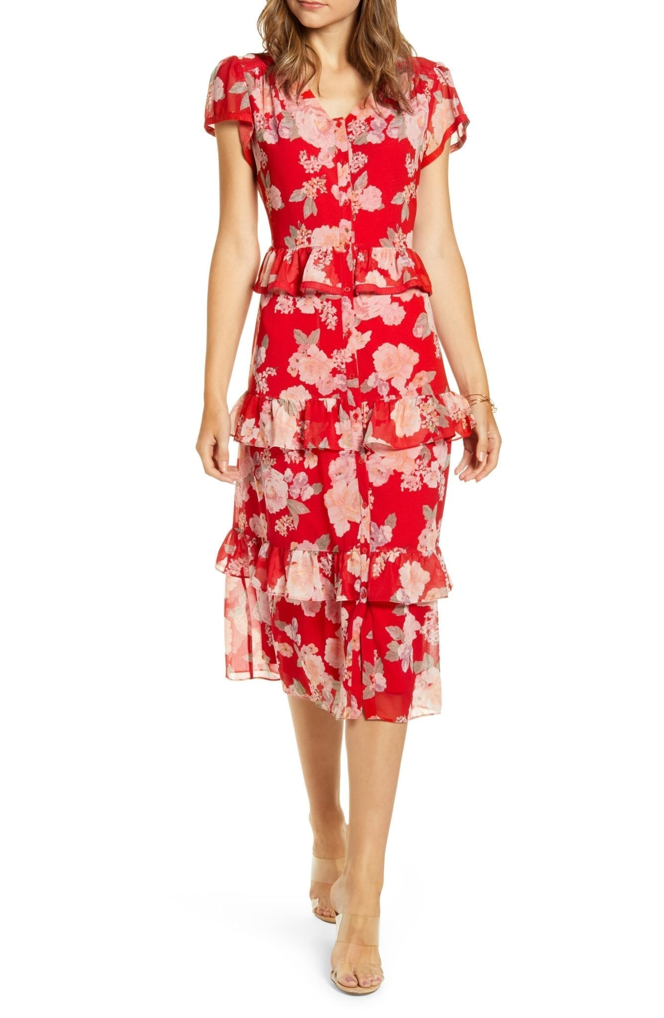 RACHEL PARCELL Floral Ruffle Shirt Dress