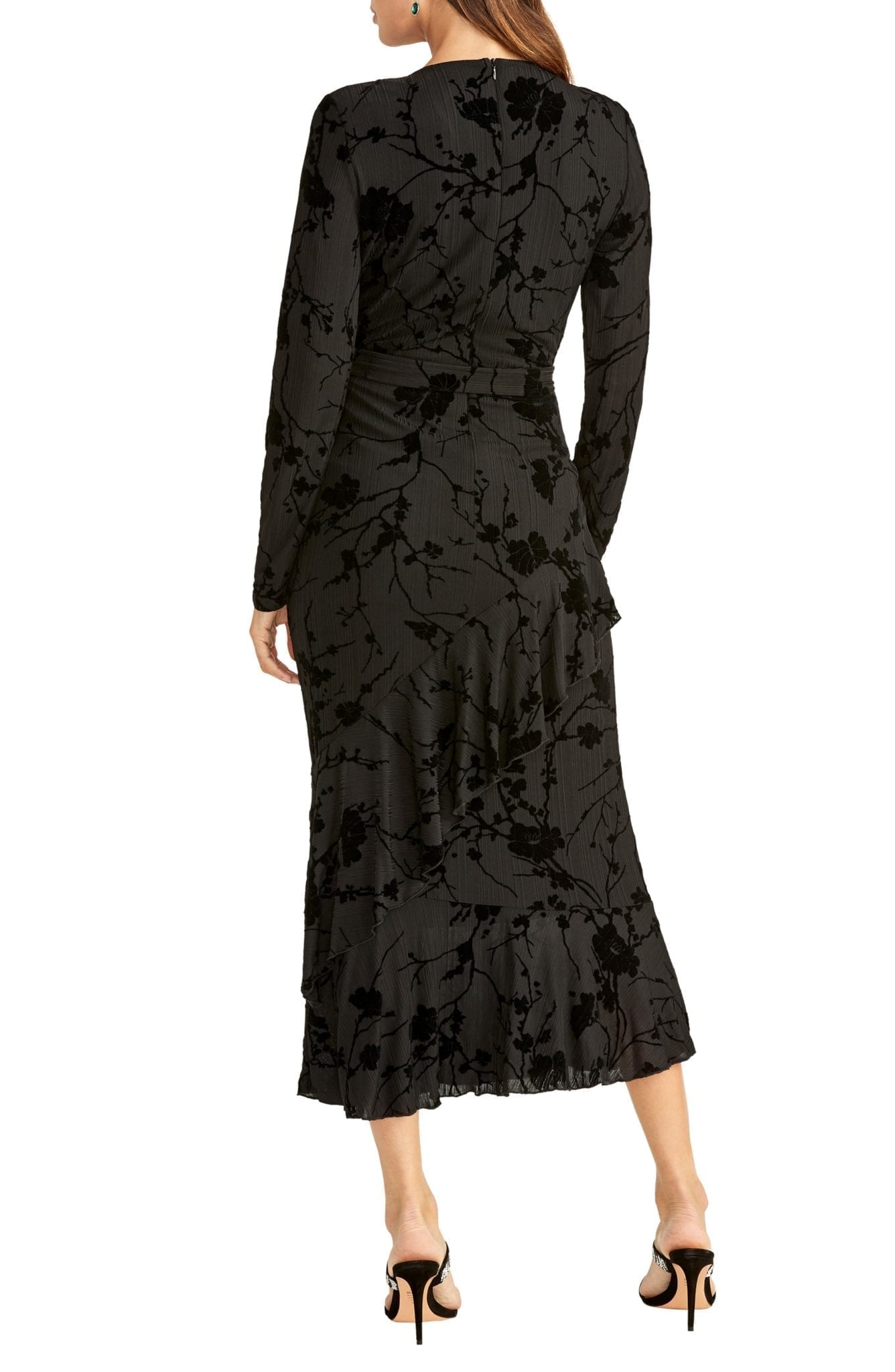 RACHEL RACHEL ROY Flocked Velvet Long Sleeve Faux Wrap Dress
