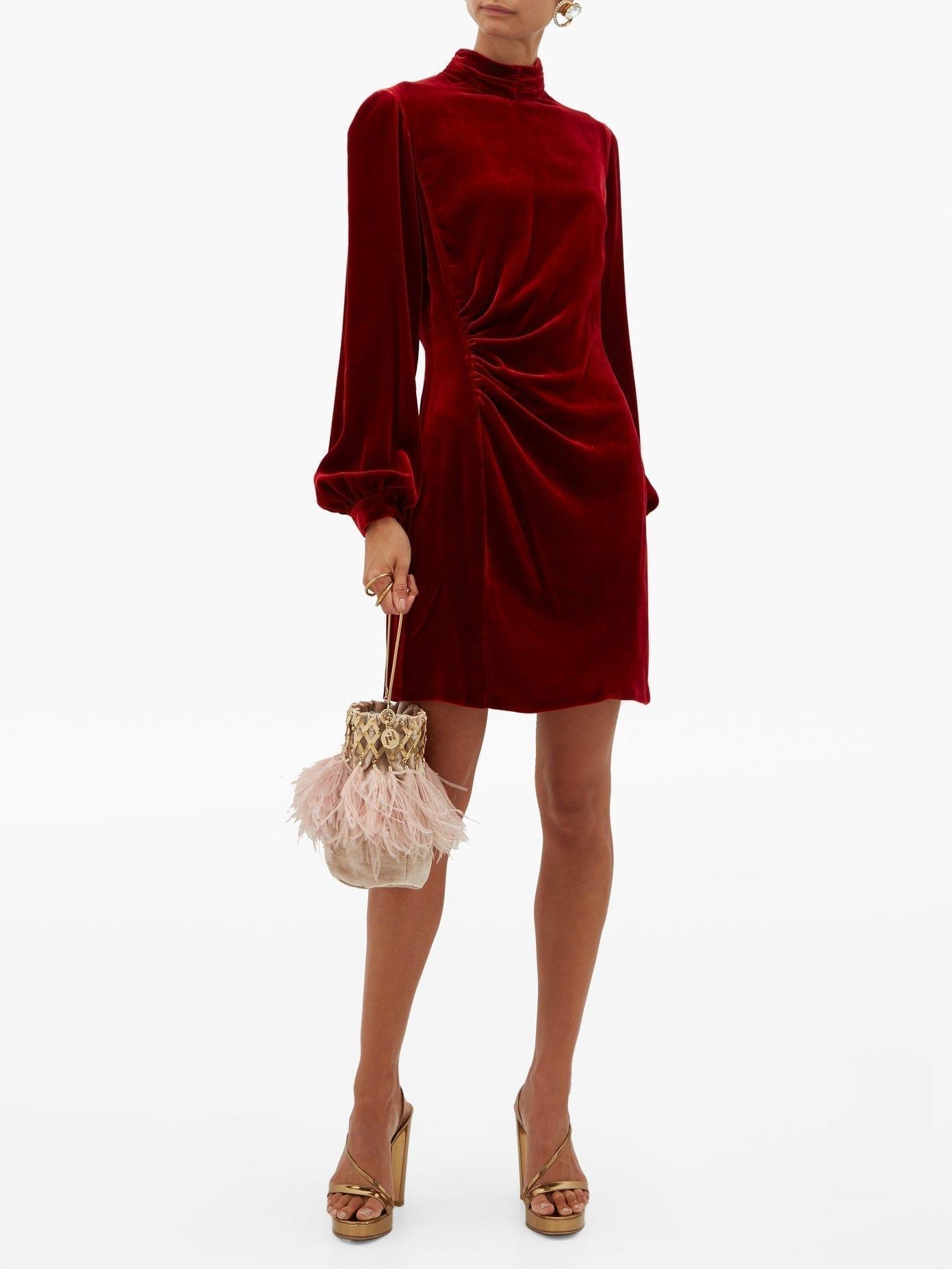 RAQUEL DINIZ Elle Balloon-sleeve Velvet Dress