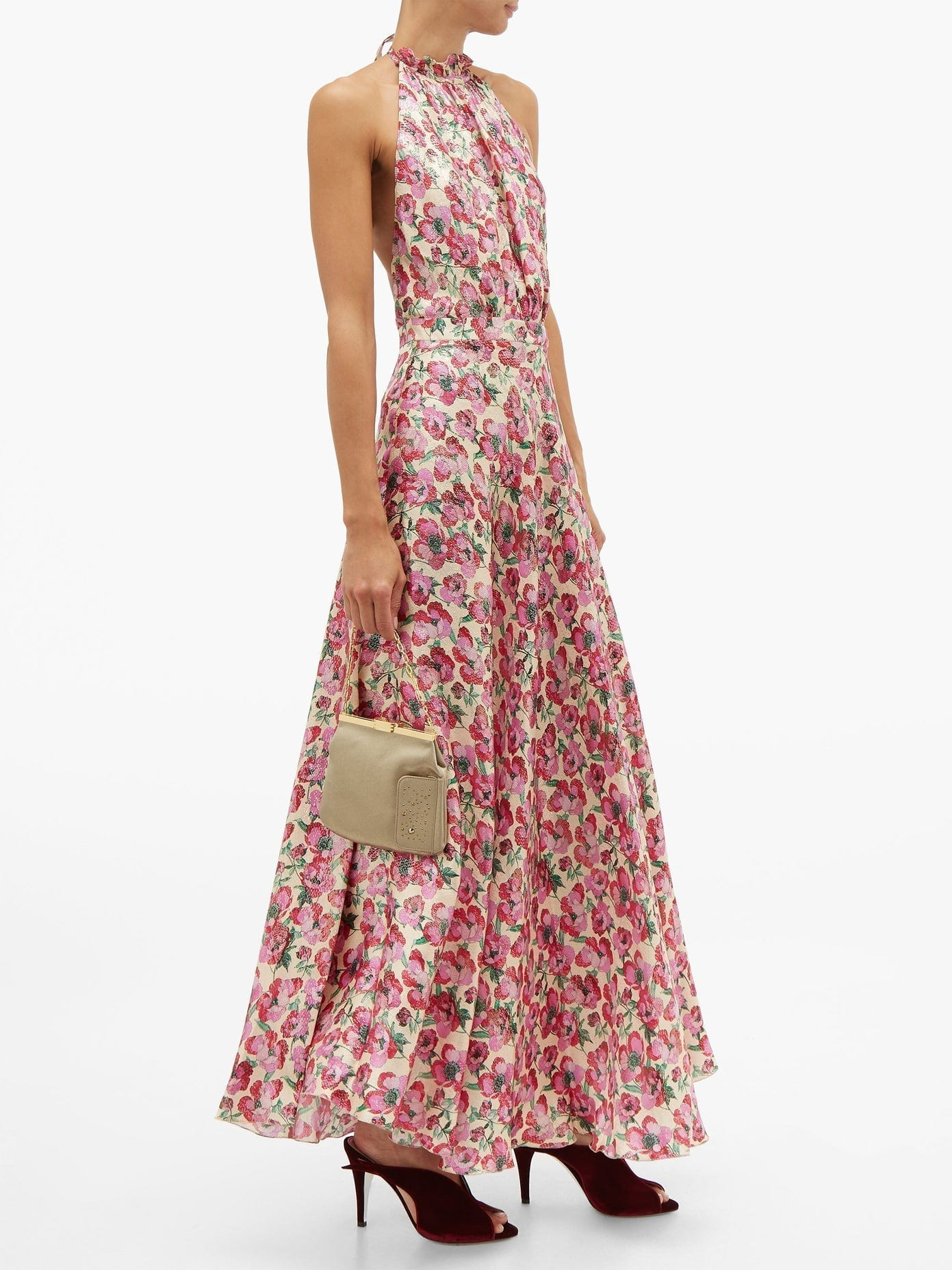 RAQUEL DINIZ Giovanna Floral-print Silk Lamé Dress