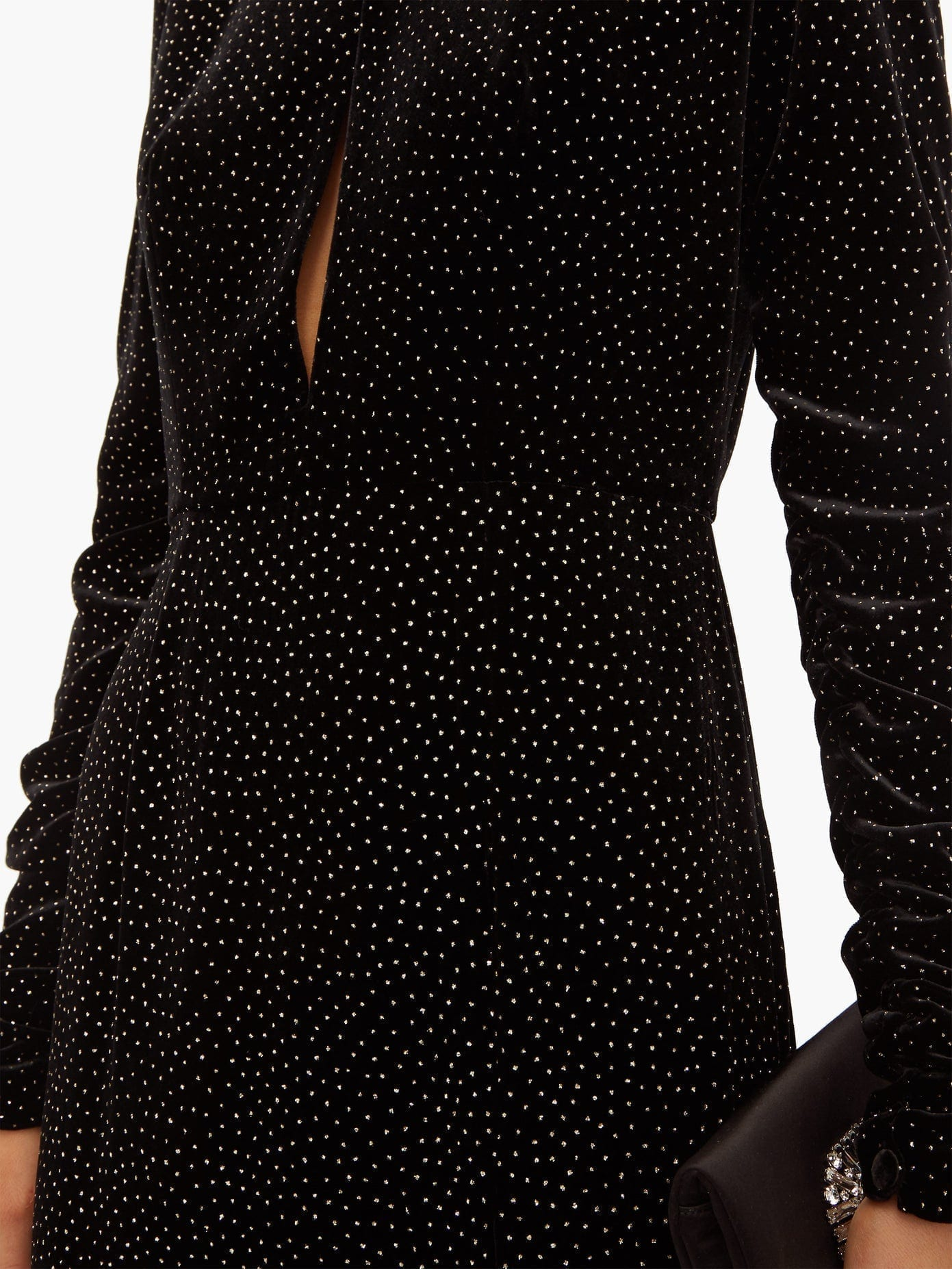RAQUEL DINIZ Lucy Starry Sky Glitter Polka-dot Velvet Dress