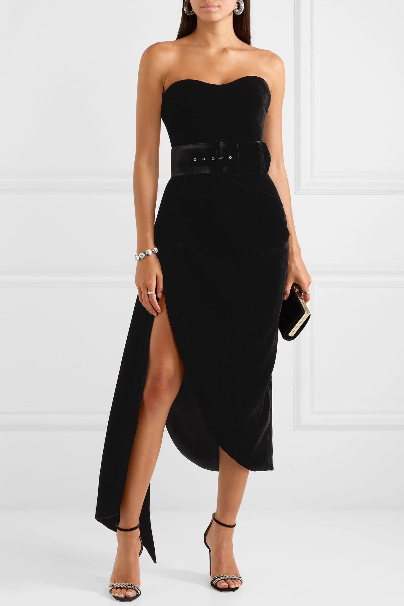 RASARIO Strapless Asymmetric Draped Velvet Dress