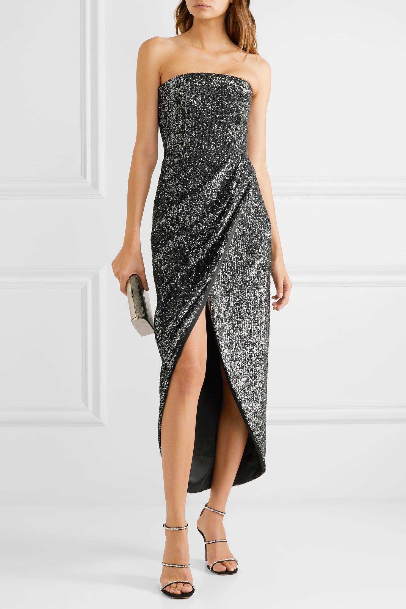 RASARIO Strapless Draped Sequined Satin Dress