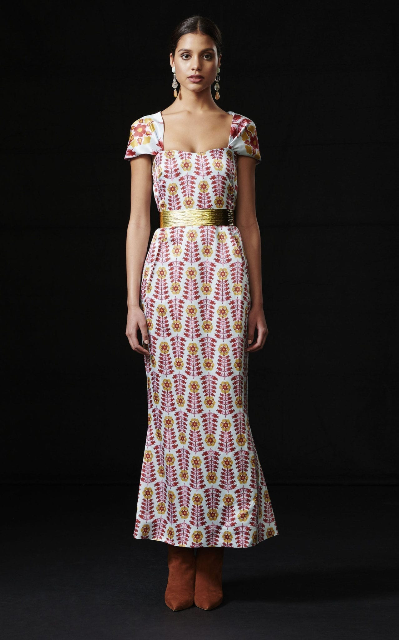REBECCA DE RAVENEL Printed Silk Midi Dress