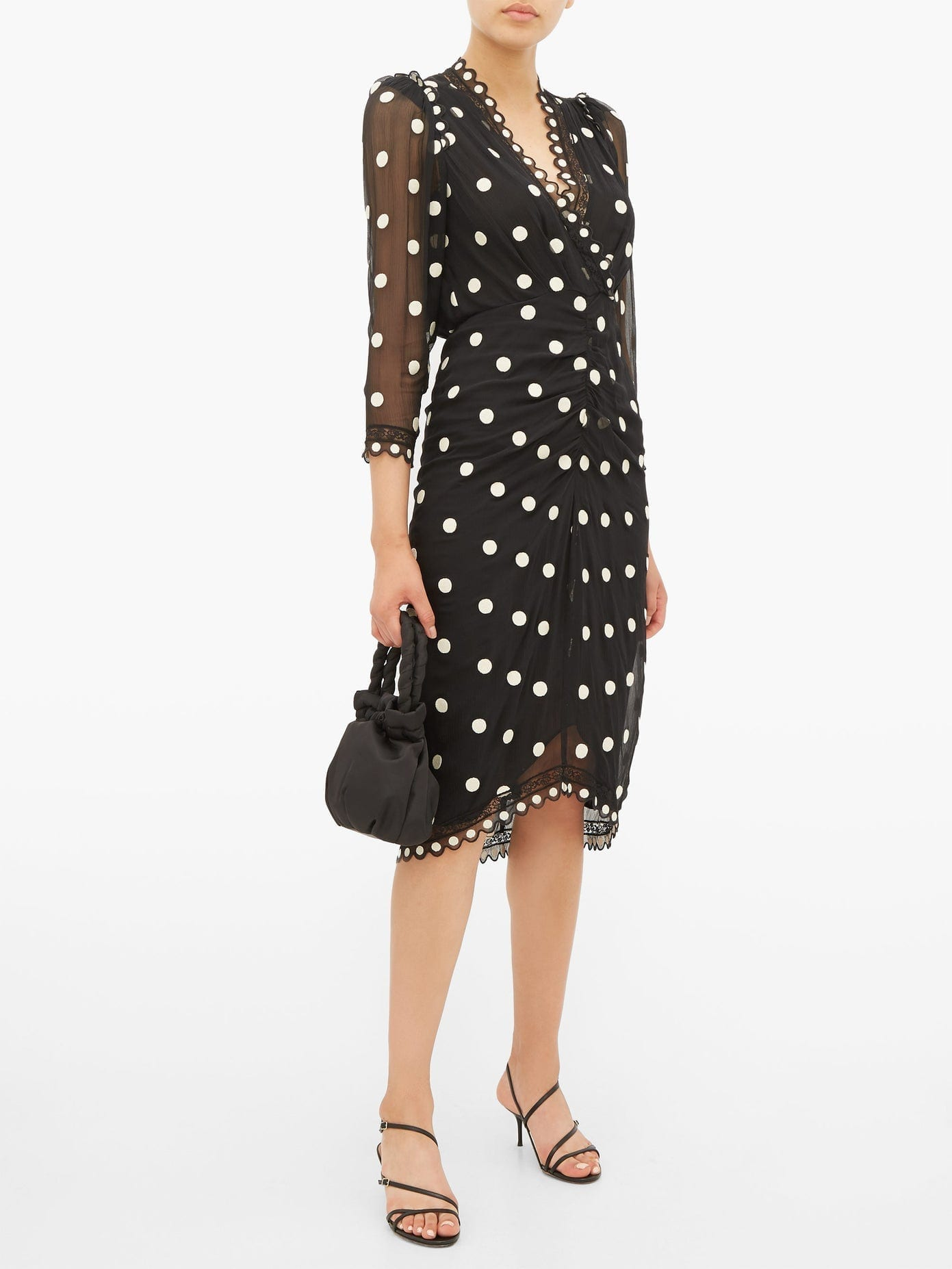 REBECCA TAYLOR Polka-dot Silk-chiffon Midi Dress