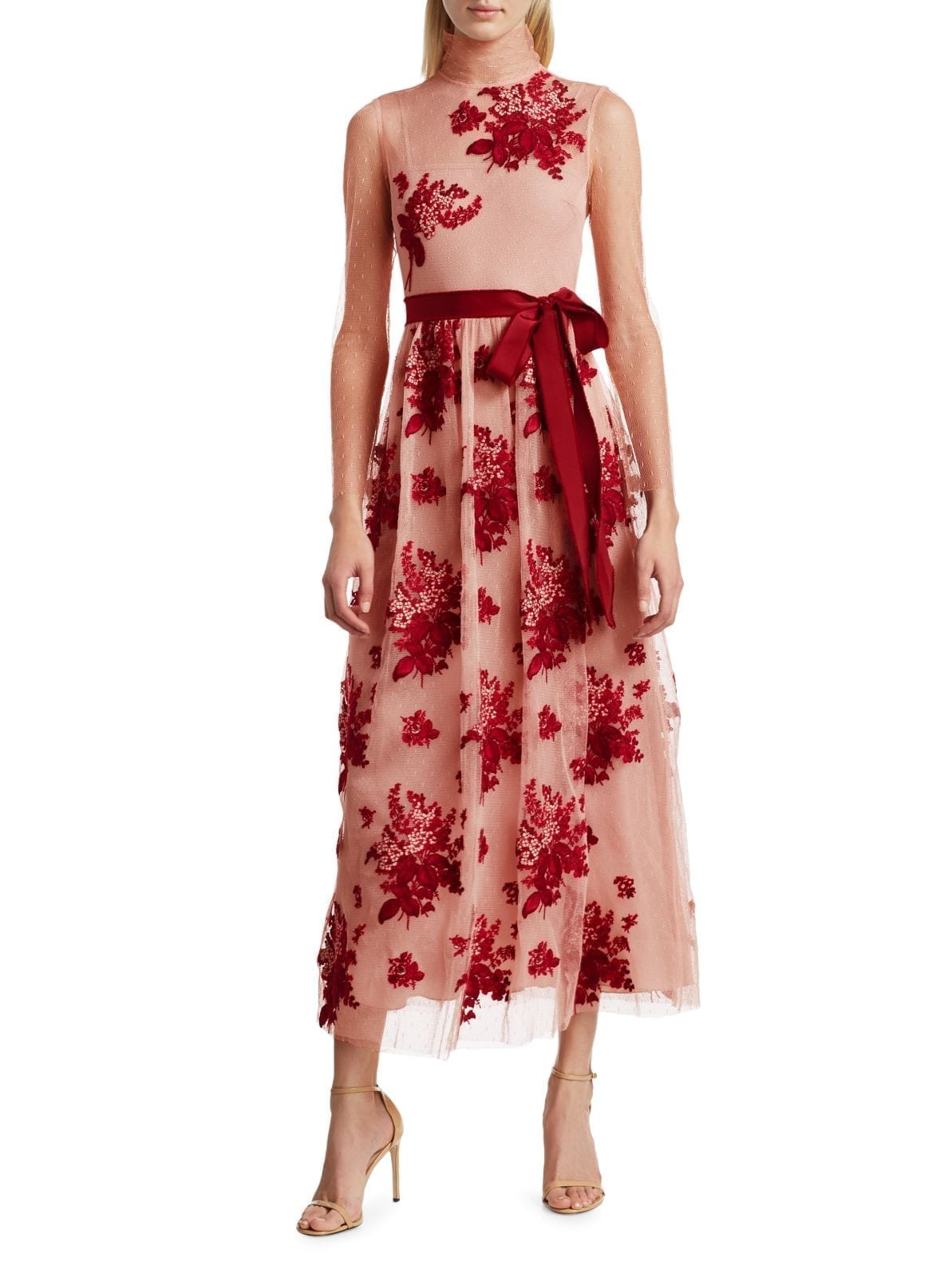 REDVALENTINO Illusion Floral Applique Midi Dress