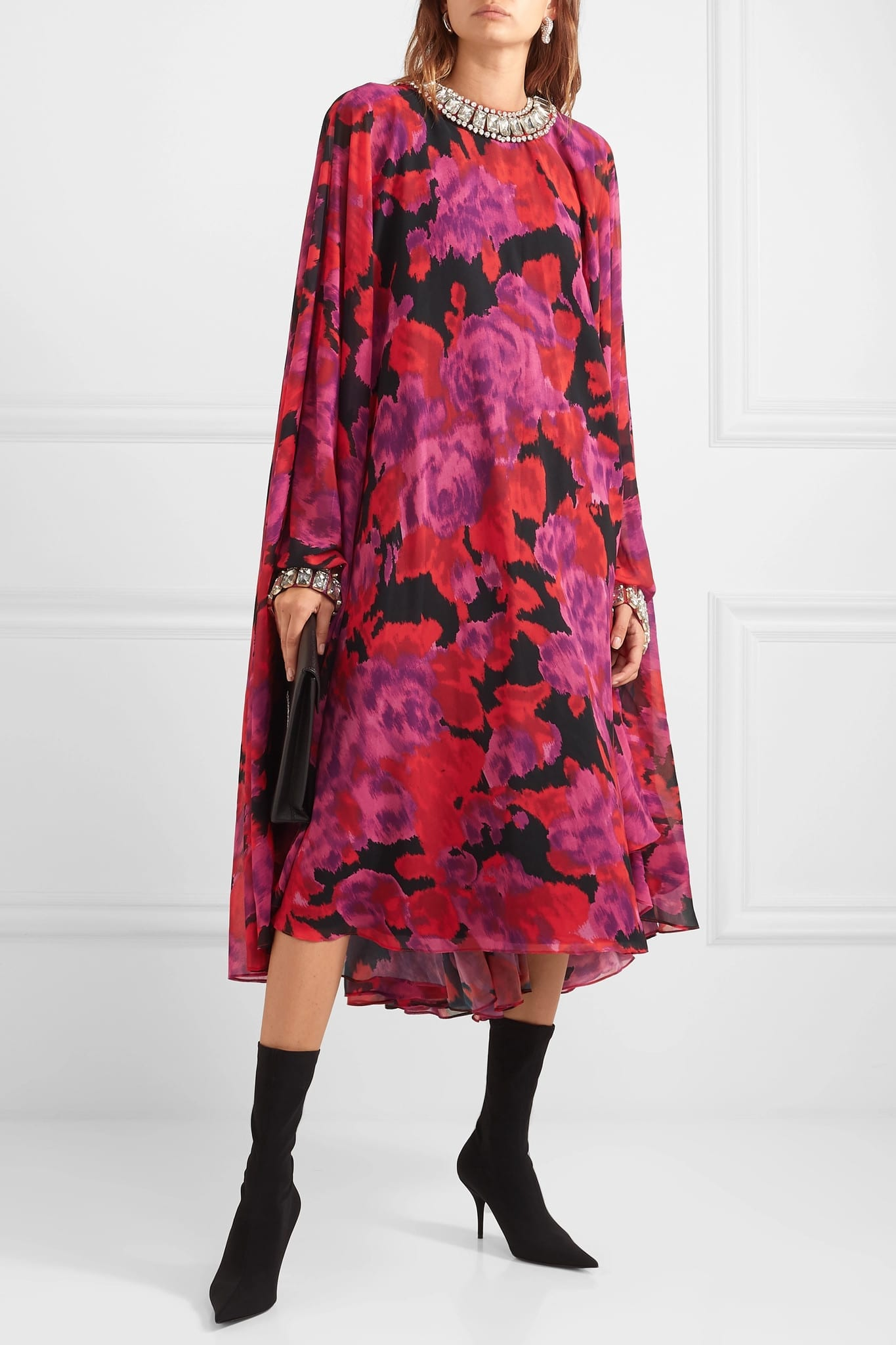 RICHARD QUINN Cape-effect Crystal-embellished Floral-print Chiffon Gown