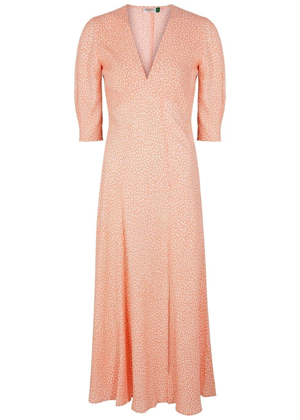 RIXO Martha Peach Printed Midi Dress