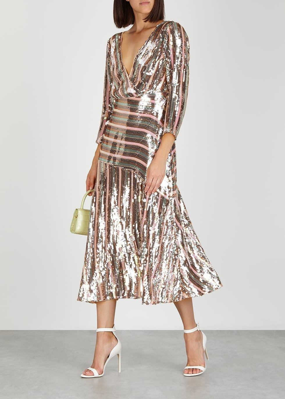 RIXO Tyra Striped Sequin Midi Dress