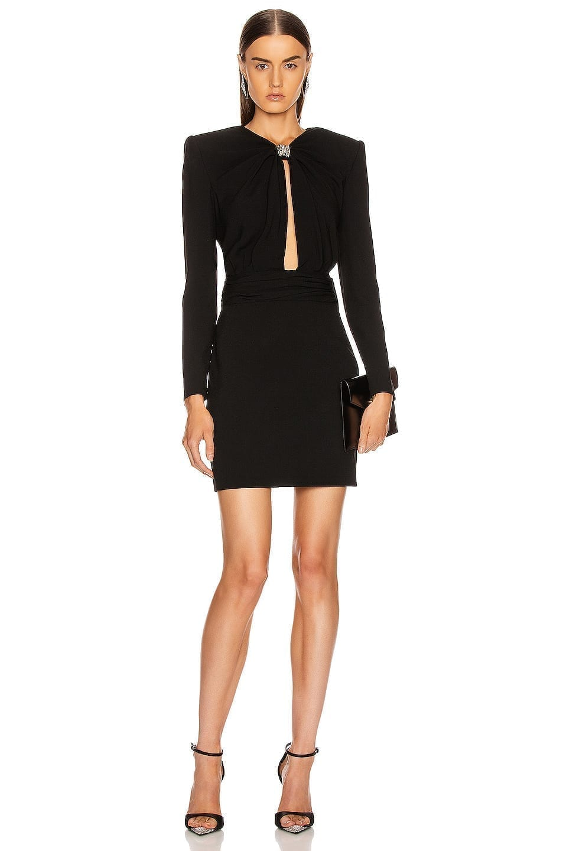 SAINT LAURENT Long Sleeve Keyhole Mini Dress