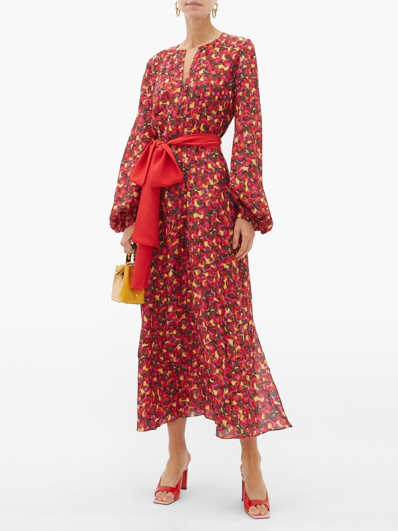 SALONI Lucia Cherry-print Silk-crepe Midi Dress
