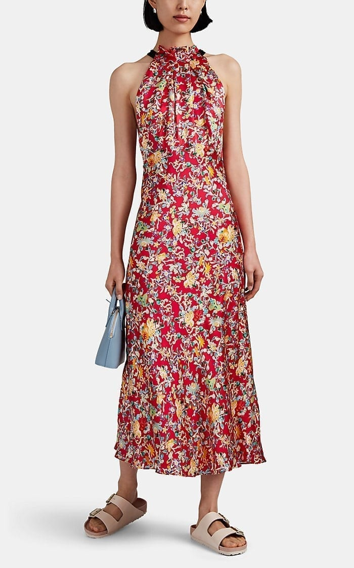 SALONI Michelle Floral Silk High-Neck Dress