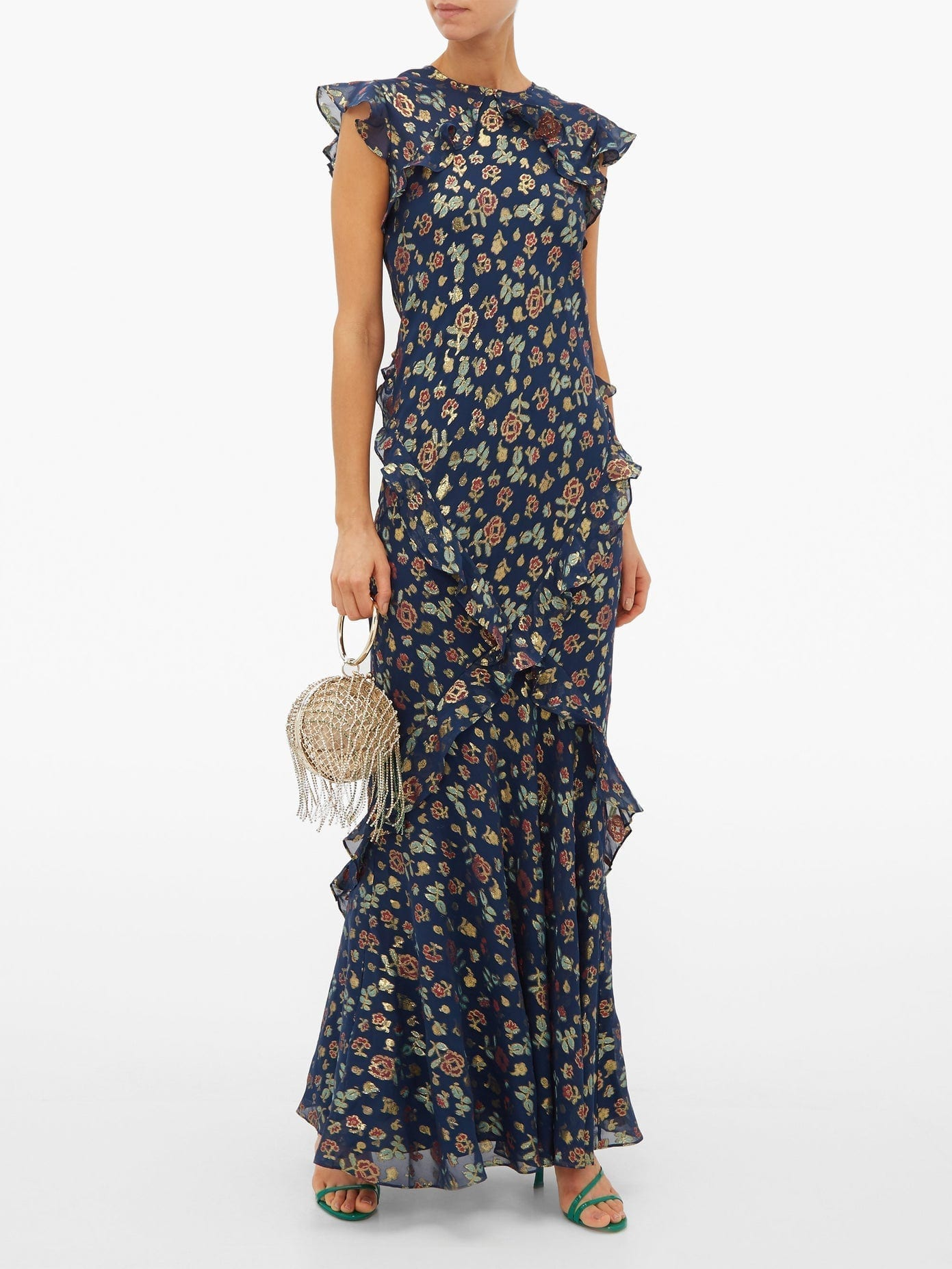 SALONI Tamara Floral-jacquard Silk-blend Maxi Dress