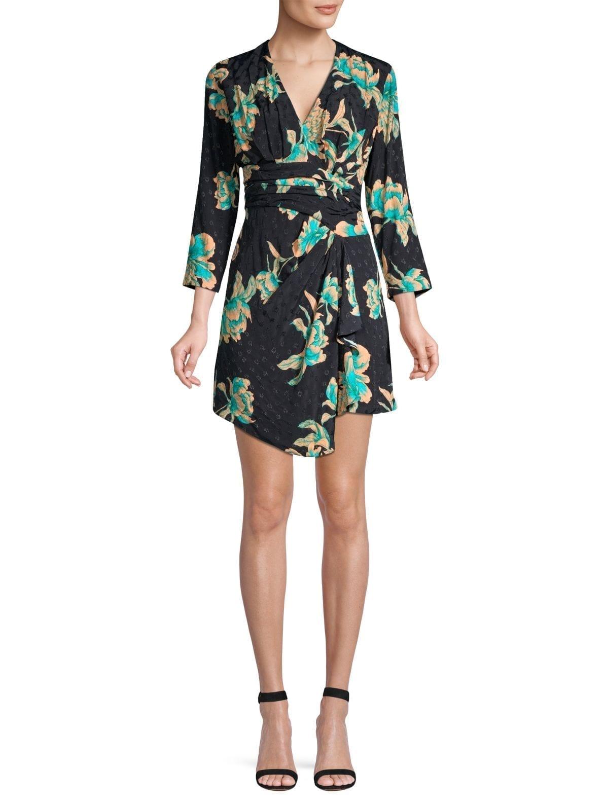 SANDRO Bruni Asymmetric Floral Dress