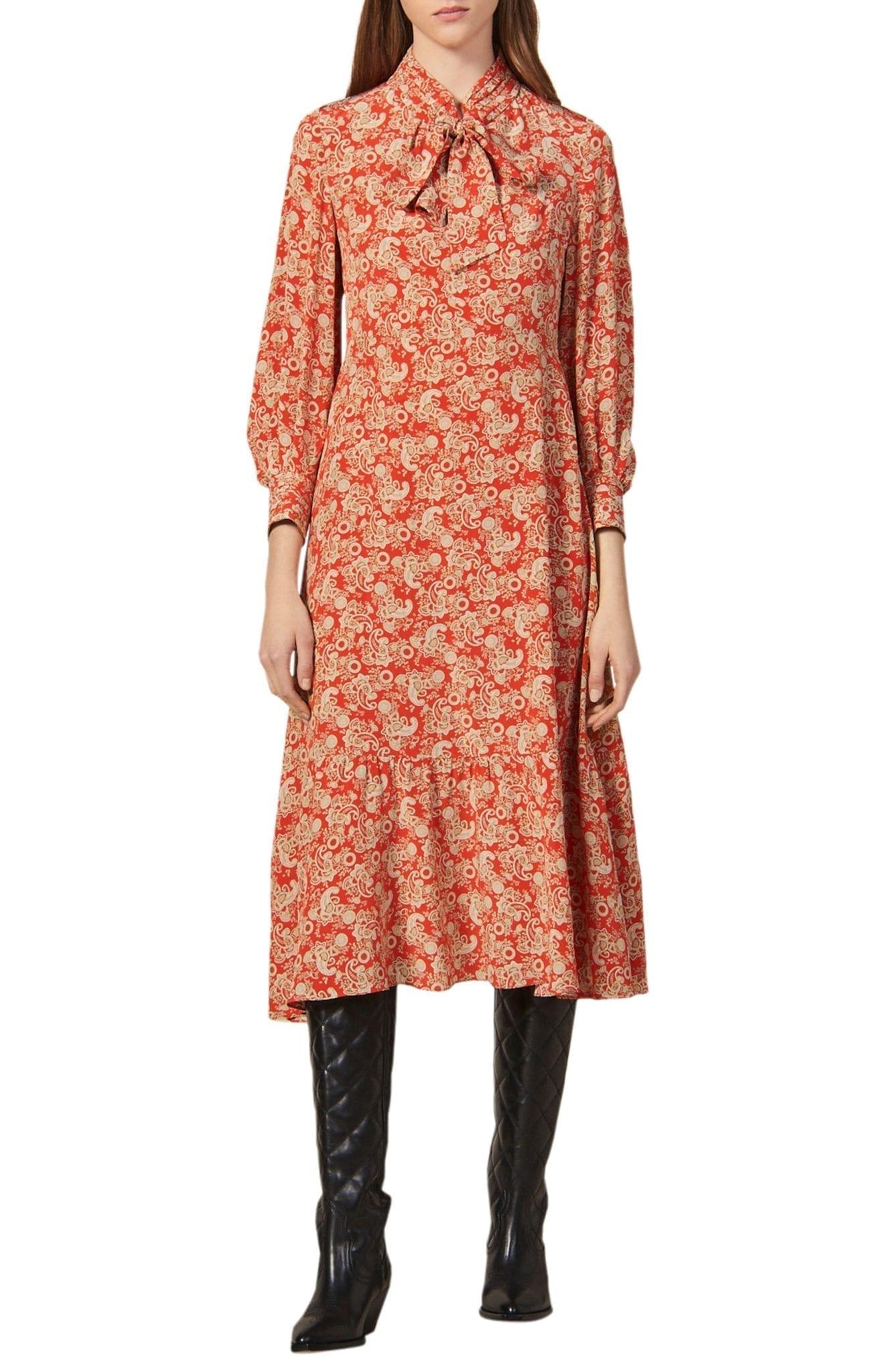 SANDRO Lanelle Paisley Tie Neck Midi Silk Dress
