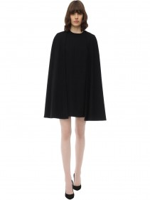 SARA BATTAGLIA Caped Viscose Jersey Mini Dress