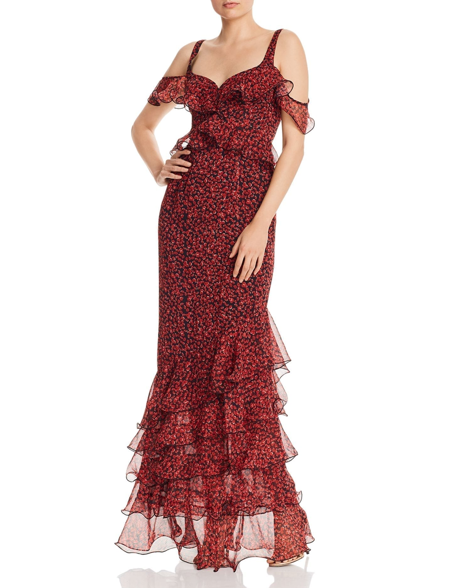 SAU LEE Valentina Cold-Shoulder Ruffled Gown