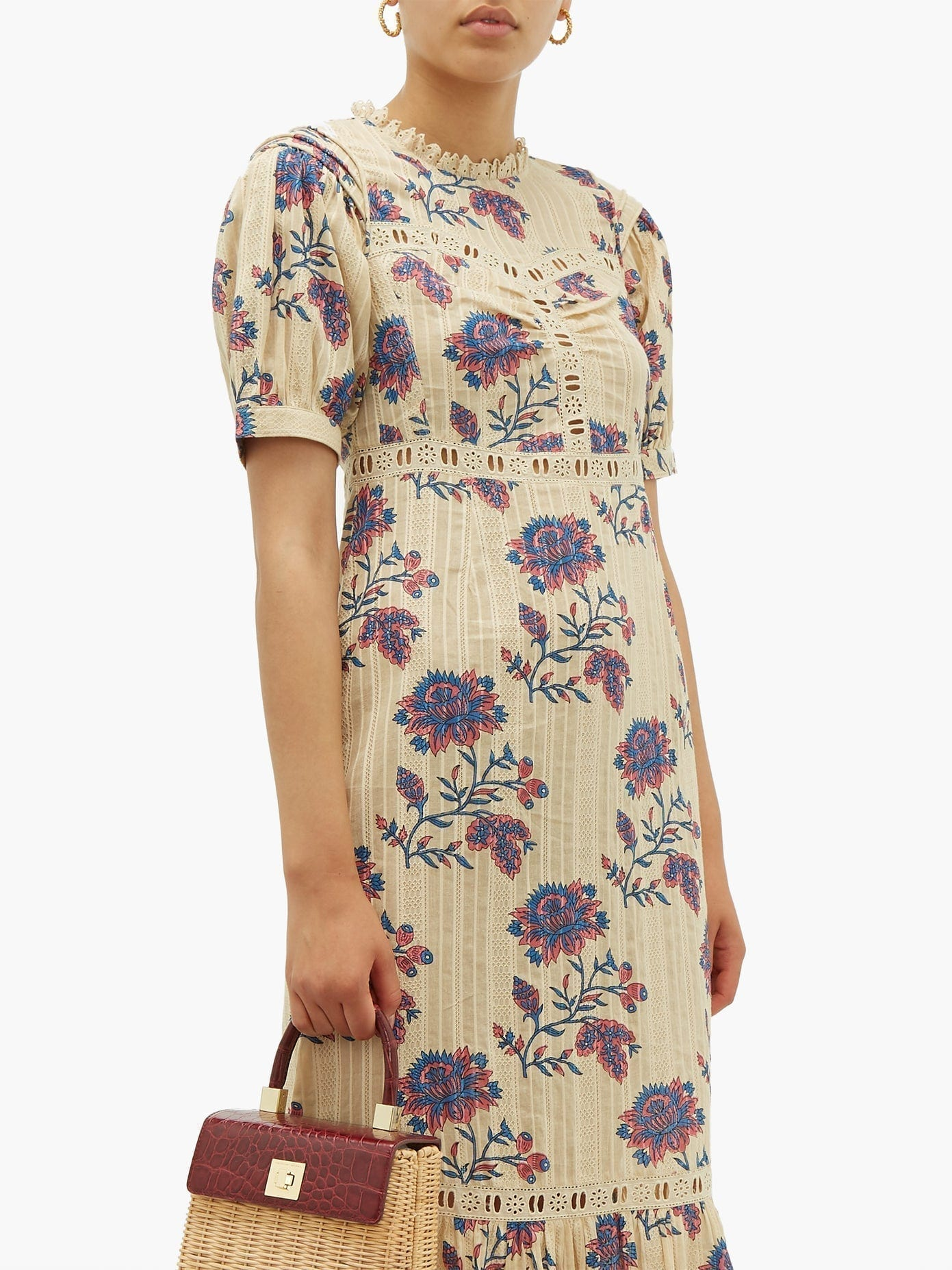 SEA Odette Floral-print Cotton Midi Dress