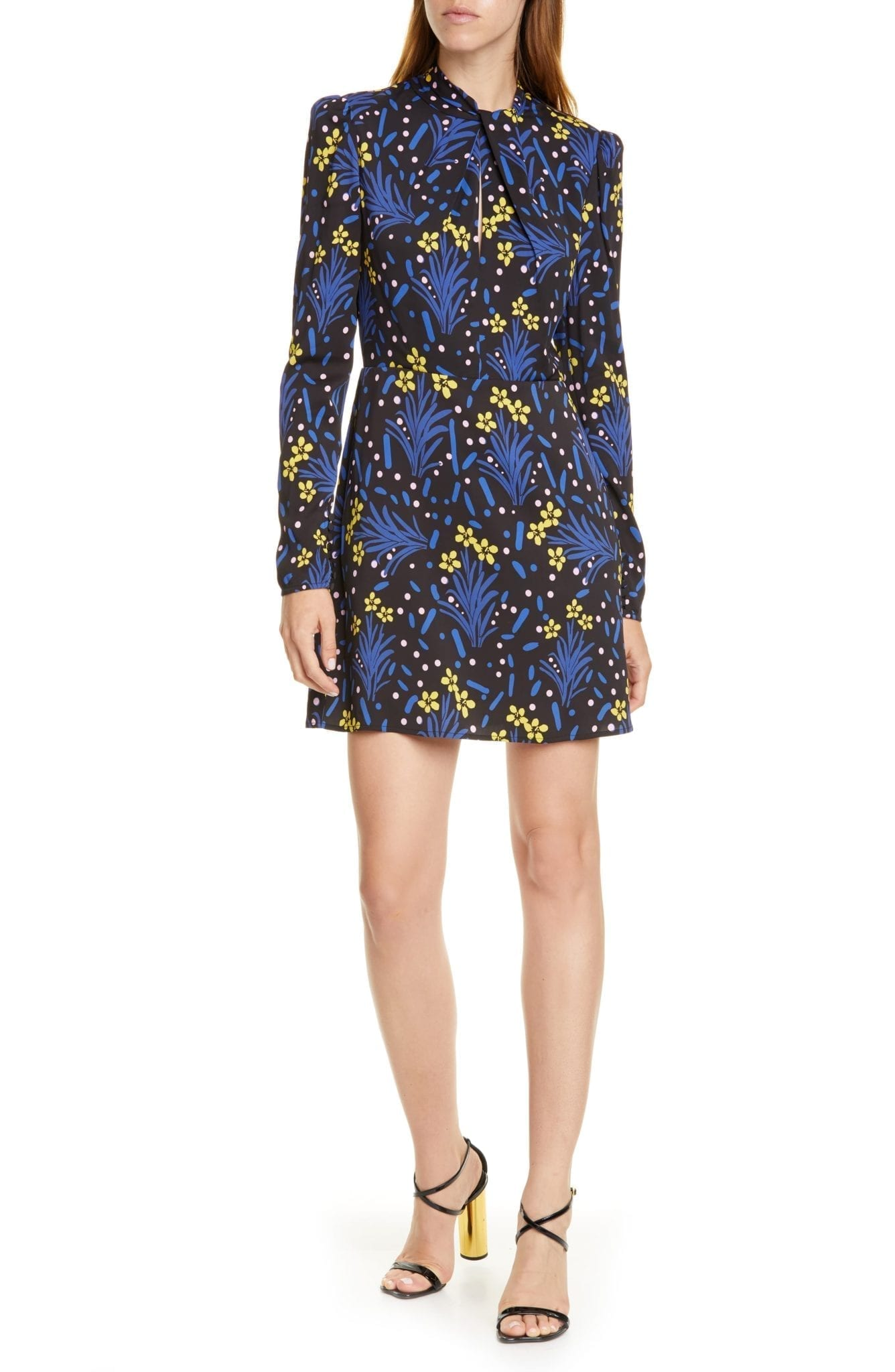SELF-PORTRAIT Floral Long Sleeve Jersey Crepe Mini Dress