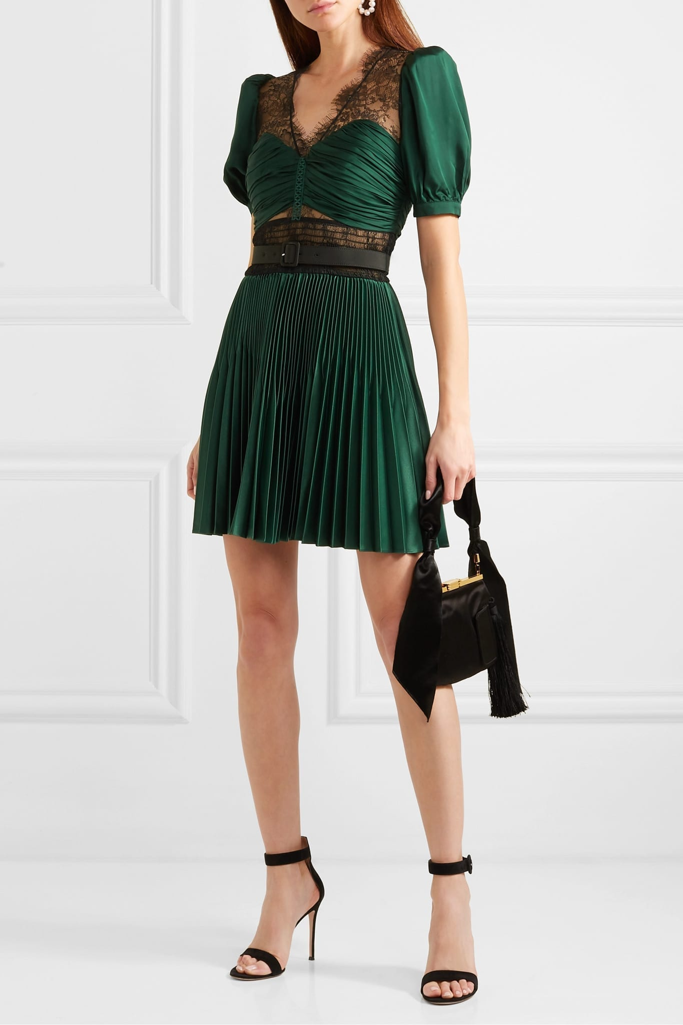 SELF-PORTRAIT Lace-paneled Pleated Crepe Mini Dress