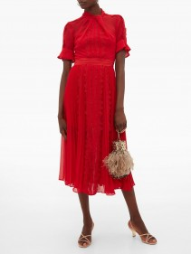 SELF-PORTRAIT Twist-neck Georgette Midi Dress