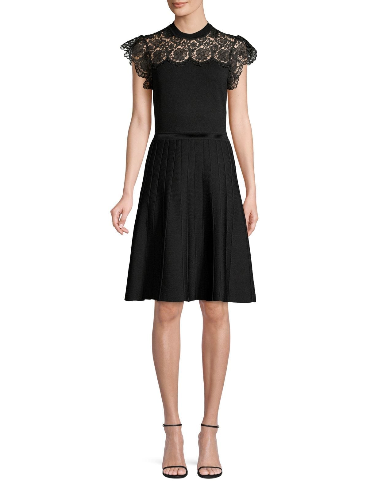 SHOSHANNA Sandra Lace-Yoke A-Line Dress